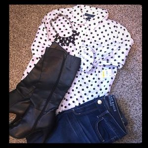 Polka Dot Collared Button Down Shirt